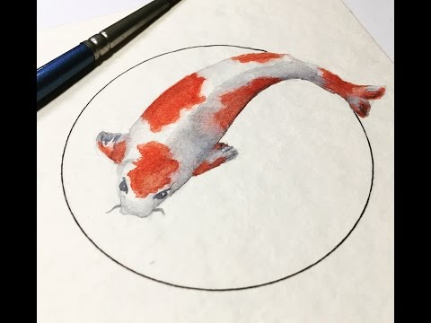 REAL TIME Watercolor Painting. Koi Fish 10 Minute Watercolor