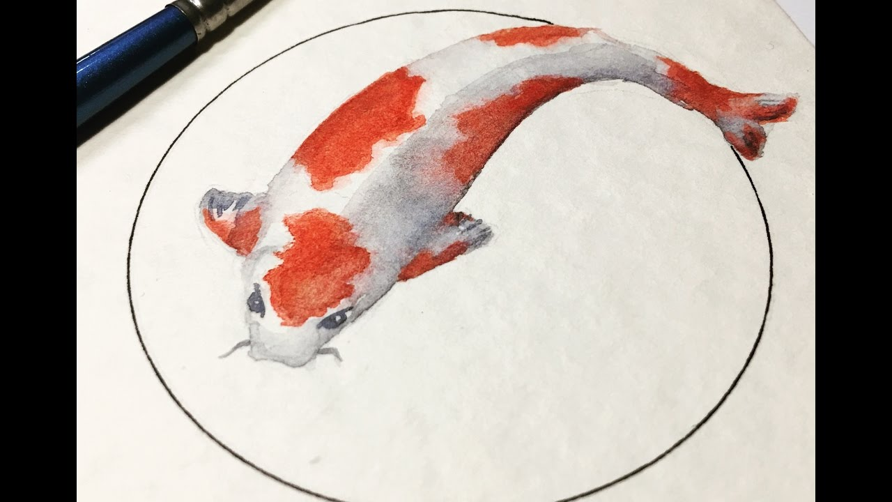 Real Time Watercolor Painting Koi Fish 10 Minute Watercolor Youtube