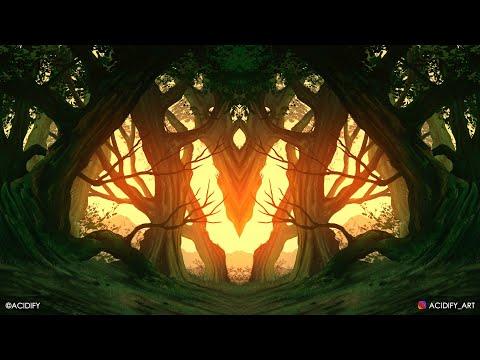 Forest Landscape Digital Painting / Photoshop Tutorial Timelapse / Forest Fantasy Tree Concept Art