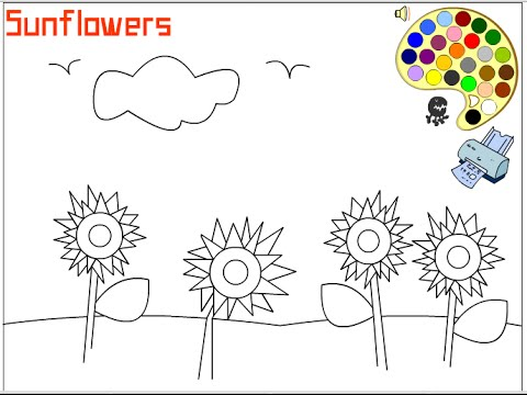 Sunflower Coloring Pages for Kids - Sunflower Coloring Pages - YouTube