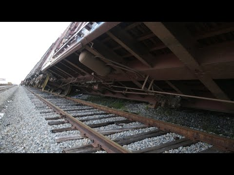 Train is knocked over by Hurricane Michael