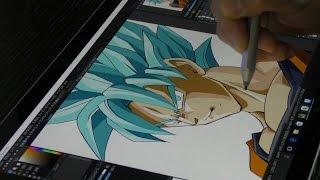 Surface pro4とMediBang Paint(メディバンペイント )でスーパーサイヤ人ブルーを描いてみた/Drawing Super Saiyan Blue by Surface