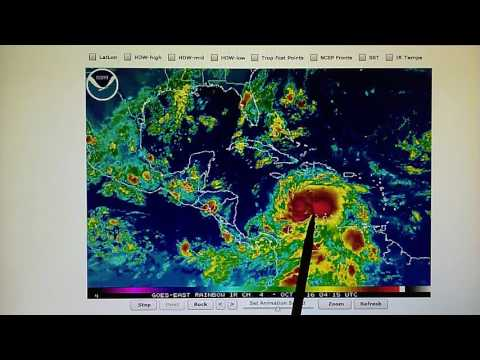 10-1-2016; CAT4 Hurricane Matthew 150 MPH Is Parked In Holding Pattern Near Venezuela.