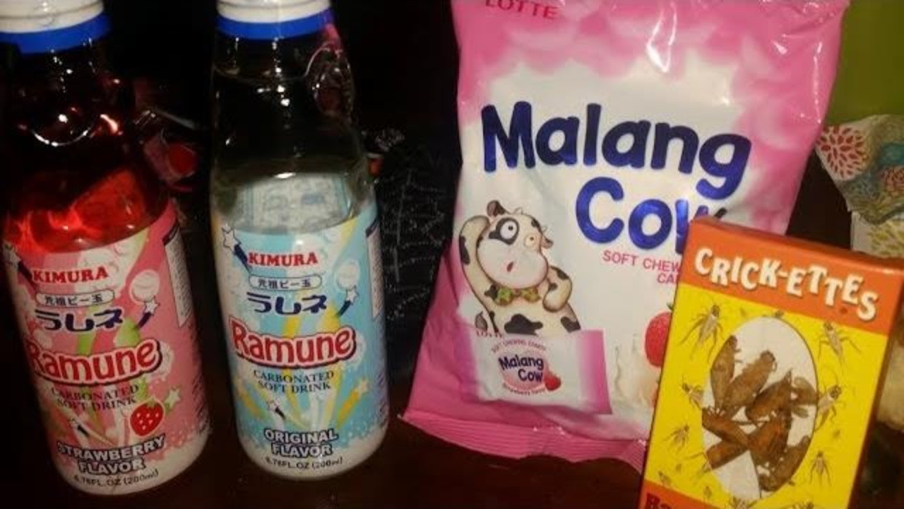 Heathers Haul Ramune Malang Cow And Bacon Cheese Crickets Youtube