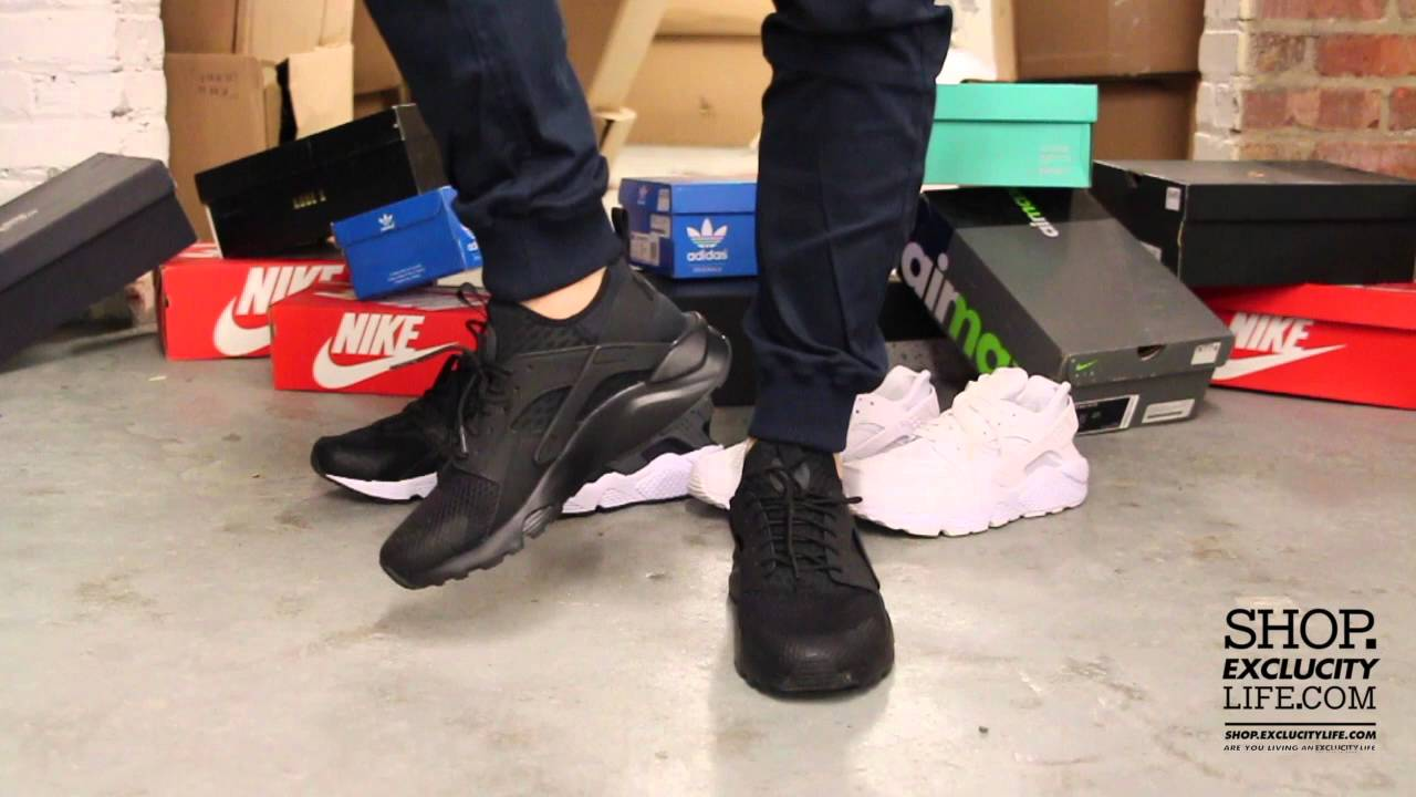 76120b90f0258 Nike Air Huarache Run Ultra BR Black Black On feet Video at Exclucity -  YouTube
