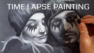 Time Lapse painting —  speed painting - Acrylic Portrait