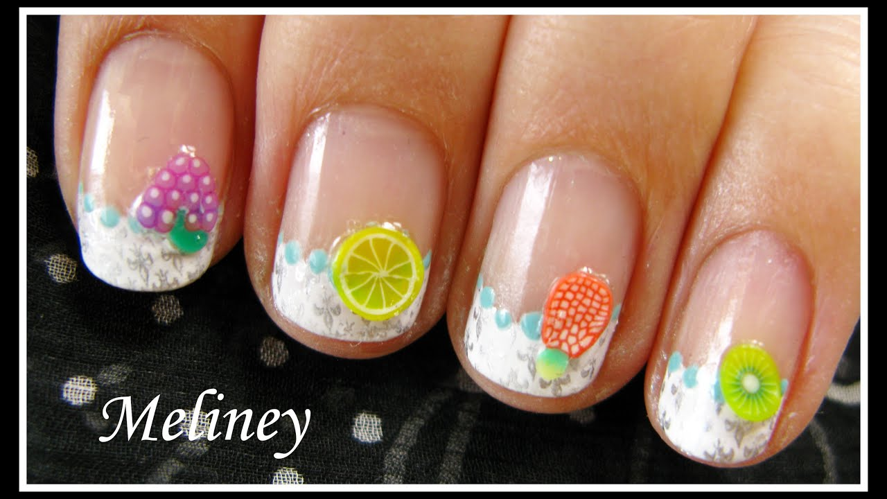 SUMMER NAIL ART FRUIT & FLOWER FIMO DESIGN | EASY KONAD FRENCH TIP ...