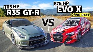 New School AWD Battle: Dustin Williams' 700hp GTR vs. 675hp Evo X // This vs. That