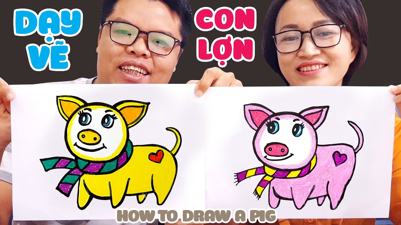 Dạy vẽ con Lợn quàng khăn ♥ How to draw a Pig ♥