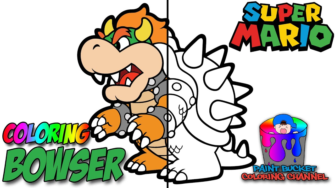paper bowser from paper mario nintendo super mario coloring