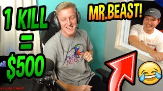 MrBeast DONATES To Tfue IN REAL LIFE! (1 KILL = $500!) CRAZY CHALLENGE! Fortnite FUNNY Moments
