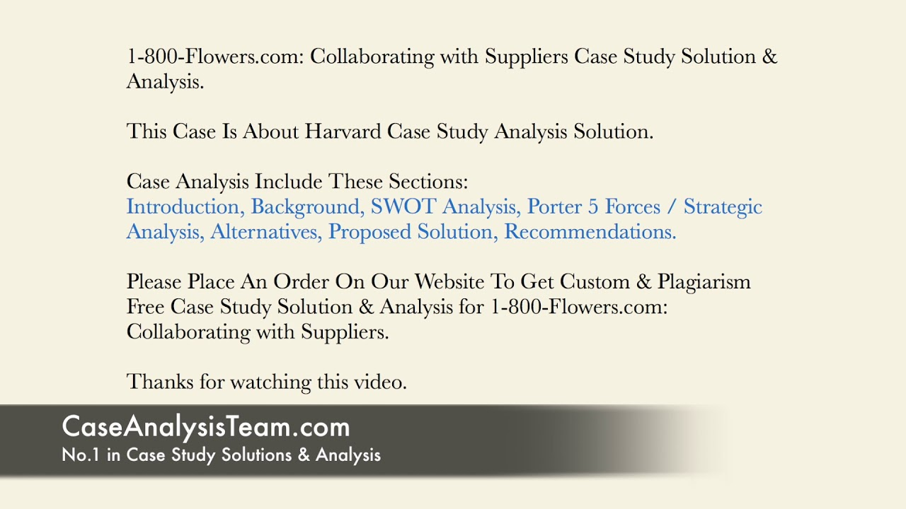1 800 Flowers Com Collaborating With Suppliers Case Study Solution Analysis