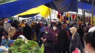 Silivri semt pazarında yoğunluk oluştu, sosyal mesafe hiçe sayıldı