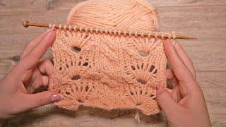 Узорная полоска спицами 🎀 Free knitting pattern