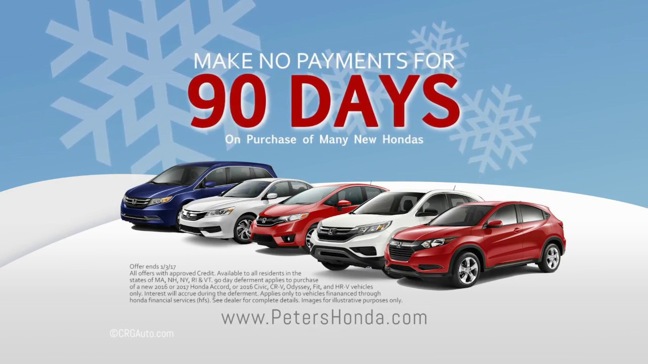 No Payments For 90 Days On Honda Accord, Civic, CR V, HR V, Fit, Or Odyssey