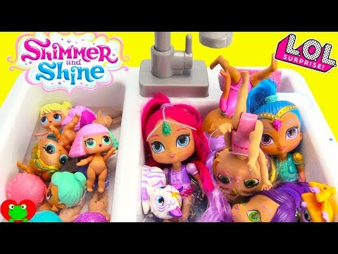 Shimmer and Shine LOL Dolls Dress Up Bubble Bath Time In Kitchen Sink Toy