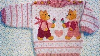 свитер детский с мишками вязание крючком