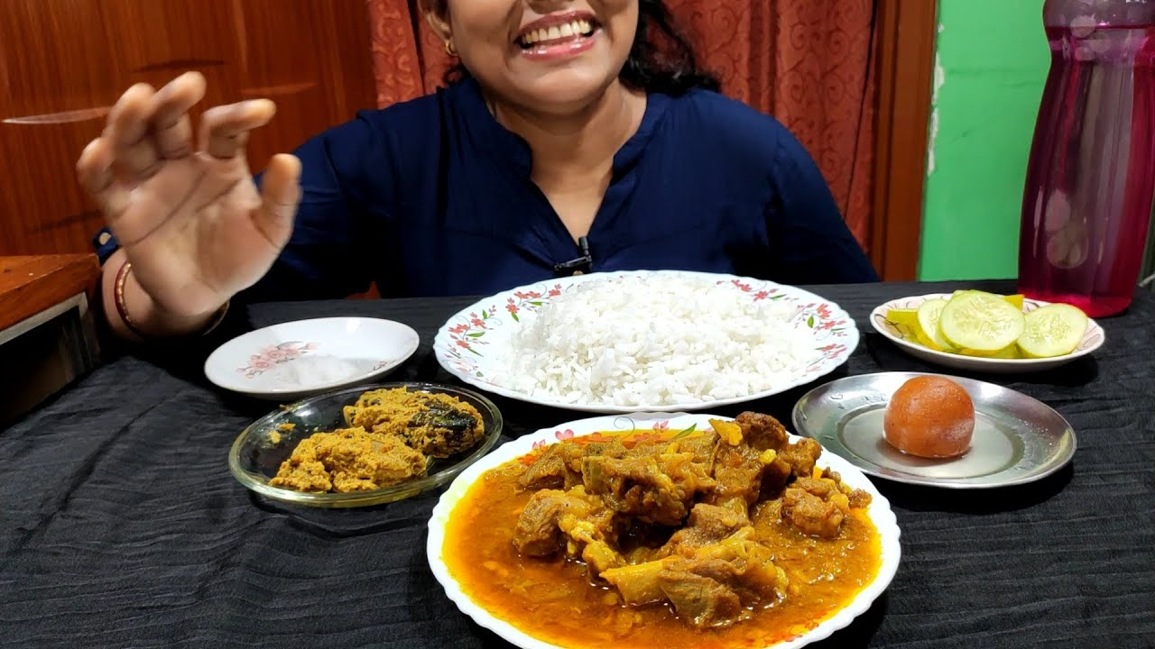 Eating Mutton Curry And Rice with sweet and Cucumber salad|MukbangEatingShow
