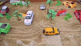 Jugar a construir puente con tractores y coches de Juguetes | Amy Toys