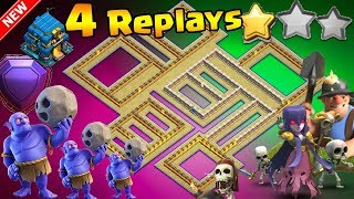 💥4 REPLAYS!💥NEW TH12 WAR BASE 2018 ANTI 2 STAR Anti Everything BoWitch,Miner,Anti Queen Walk,Hog
