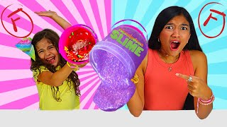 FIXING & GRADING MY SISTER'S STORE BOUGHT SLIME CHALLENGE! SLIME PRANK GONE WRONG!