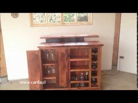 Bar r stico con tv lift hecho en roble reciclado youtube for Bar de madera rustico esquinero