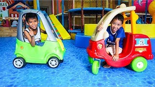 Kids Go To  Indoor Playground By Car W/ Kids Play Train Slide Song Childrens