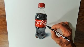 Time Lapse Drawing Video   Realistic Drawing a Coca Cola