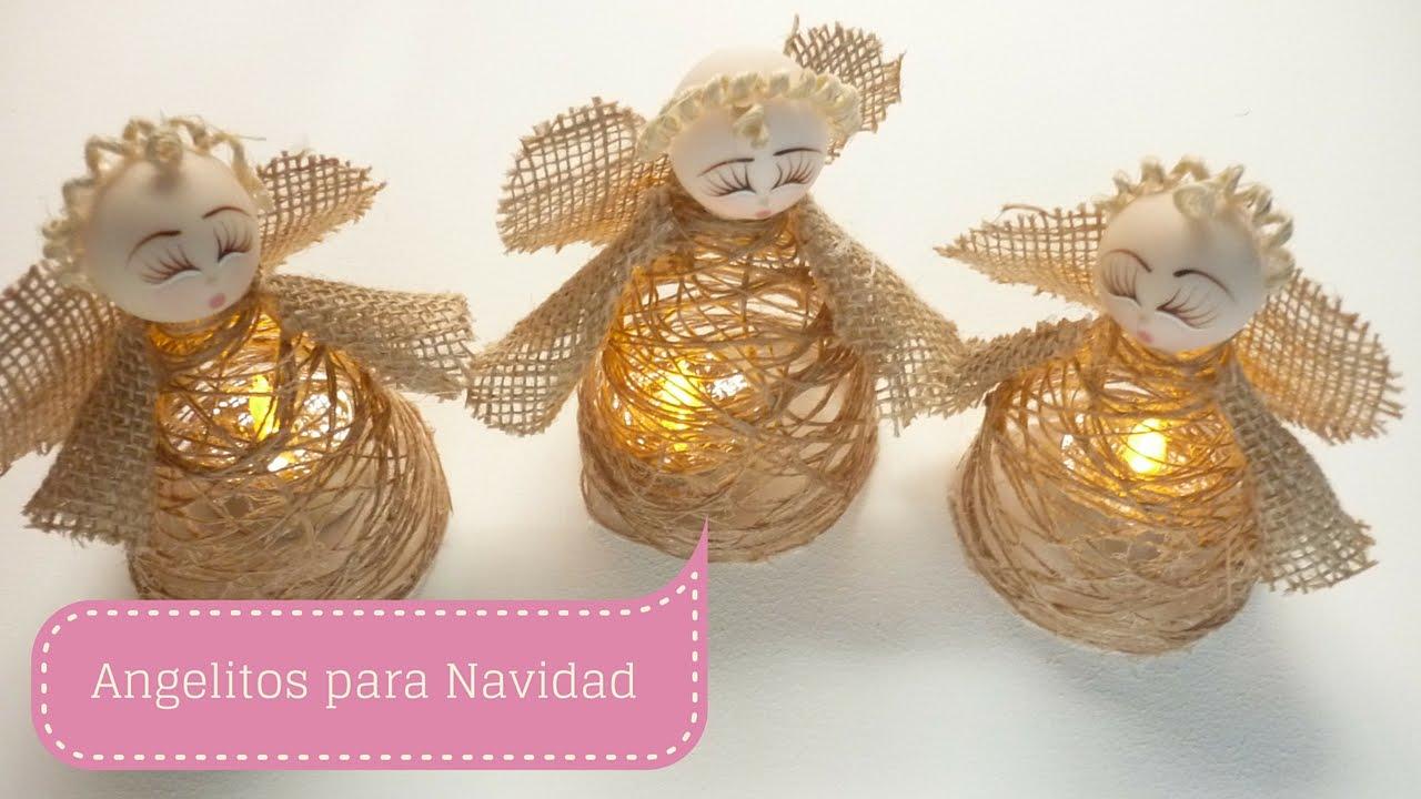 Manualidades para Navidad NGEL hecho en TELA e HILO de YUTE DIY