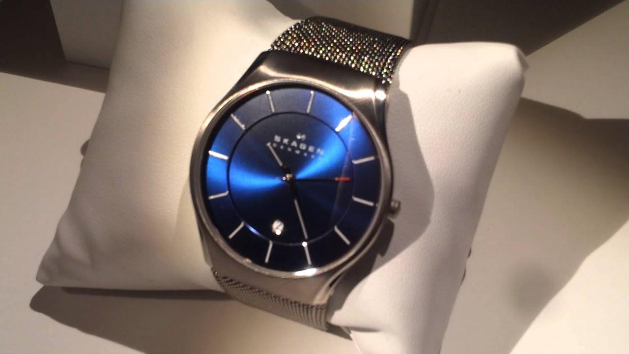 close up of skagen titanium blue dial mens watch 956xlttn