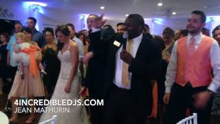 Professional Wedding DJ shows wedding guest how to do the Cupid Shuffle