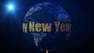 Happy New Year 2020 Greeting On Square Shines Dotted Globe Earth World Map Blue Background