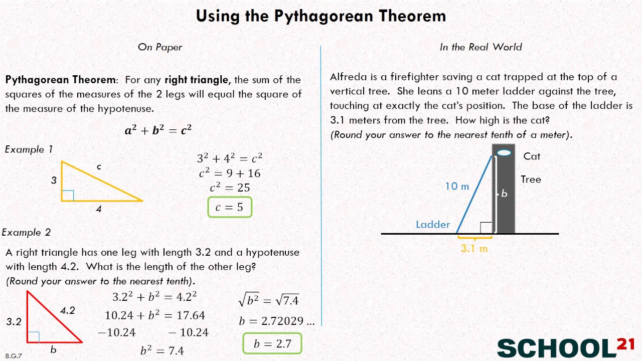 Apply Pythagorean Theorem Examples Solutions Videos Worksheets
