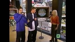 Christina Aguilera, Nick Lachey and Jeff Timmons TRL 8/23/1999