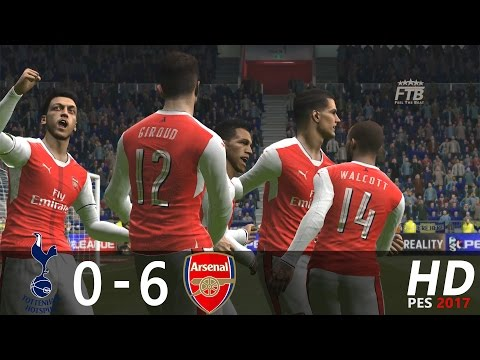 PES 2017 | Tottenham Hotspur vs Arsenal FC | 0 - 6 | All Goals and Highlights Extended