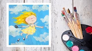 Видео урок Рисуем ангела гуашью По мотивам картин Гапчинской