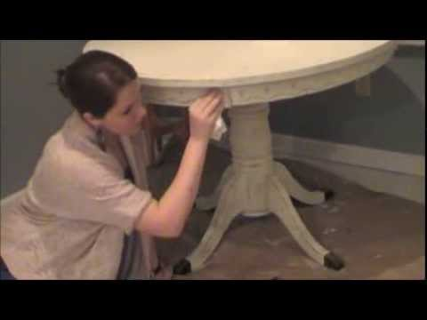 DIY Chalk Like Paint Table Makeover   Antique White (Part 2 Of 2)   YouTube