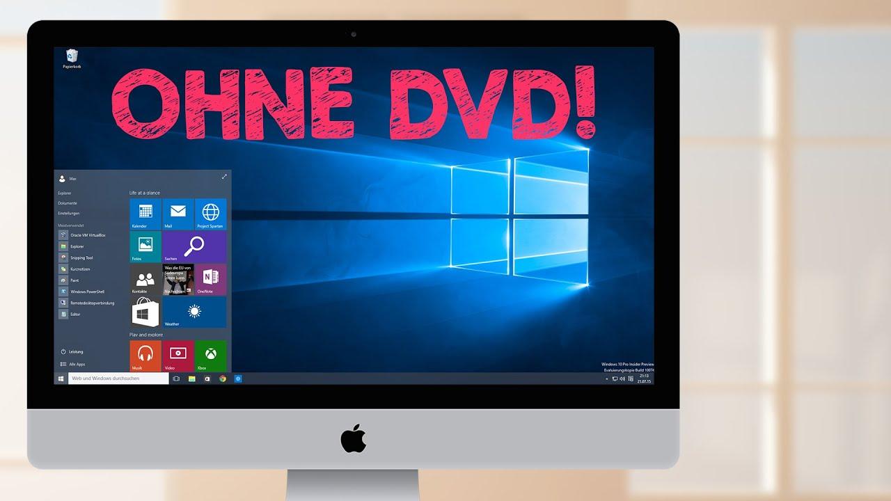 windows 10 installation mac virtuell mit parallels ohne cd dvd tutorial. Black Bedroom Furniture Sets. Home Design Ideas