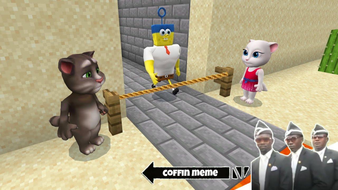 Talking Tom vs Super Spongebob in Minecraft - Coffin Meme