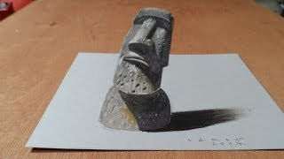 Drawing a 3 Dimension Easter Island Head, Trick Art by Vamos