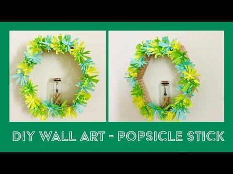 DIY WALL ART - POPSICLE STICK & PAPER FLOWER HEXAGON SHELF