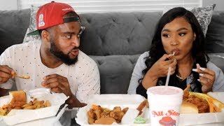 HOTWINGS MUKBANG WITH MY BOYFRIEND | Kathryn Bedell