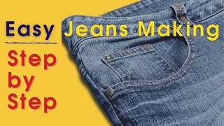 How to Sew Jeans at Home DIY   Sew Jeans on any Sewing Machine   how to sew jeans tutorial home made