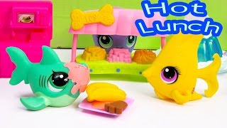 LPS Hot Lunch School Of Sharks Series Video Littlest Pet Shop Part 10 Cookieswirlc Toy Playing(LPS School Of Sharks Video series- Brent talks about Rosa to his best friend Chad at lunch time at school. Watch the drama of the Littlest Pet Shop show!, 2015-05-01T05:17:11.000Z)