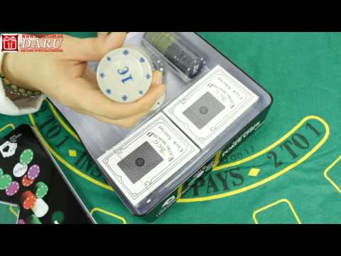 Покерный набор, 100 фишек. Набор для покера в красивой металлической коробке