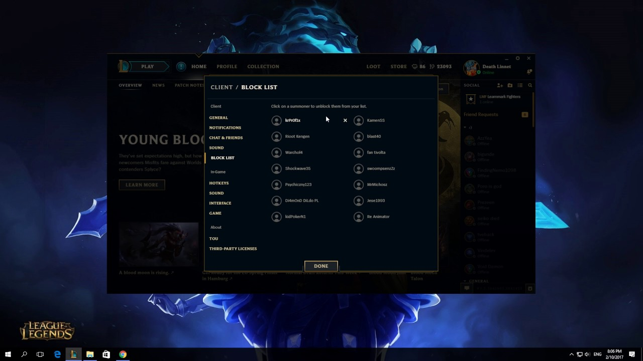 How To View Your Block List In League Of Legends Client 2017