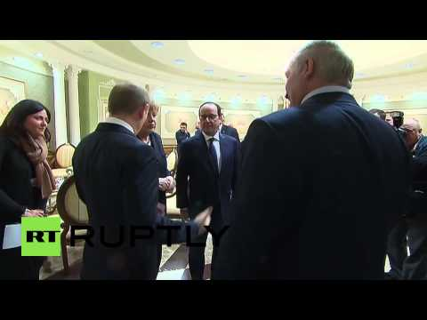 Belarus: Putin shakes hands with Poroshenko in Minsk