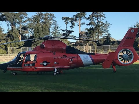 A Coast Guard helicopter makes emergency landing in San Francisco's Golden Gate P