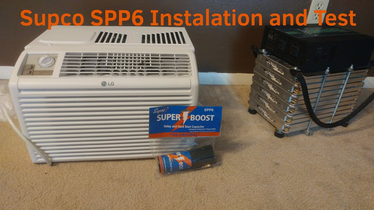 installing and testing supco spp6 hard start capacitor on lg 5000 btu ac  with 1500w inverter