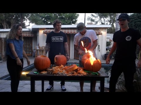 INTENSE PUMPKIN CARVING VIDEO!! (IT CAUGHT FIRE)